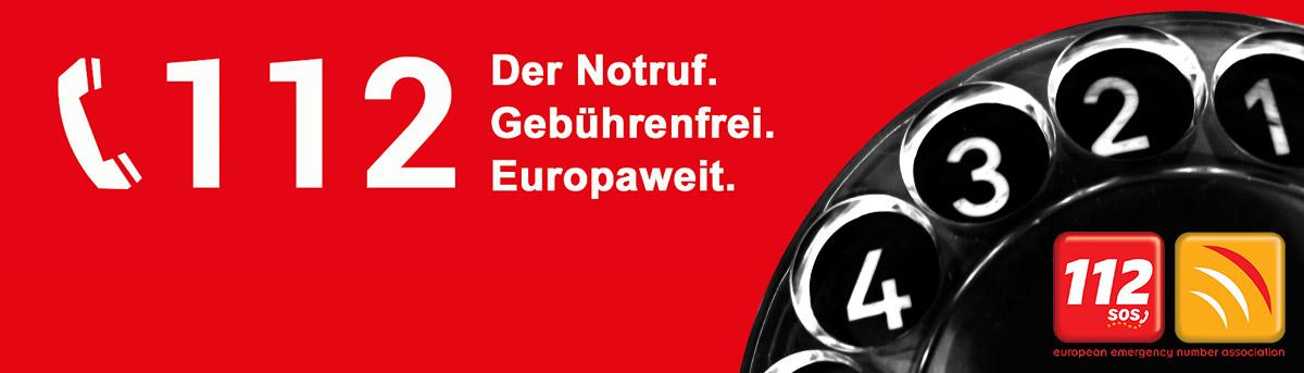 Logo Partner 112 Der Notruf: Gebührenfrei. Europaweit - Mit einer schwarzen Wählscheibe und 112 SOS