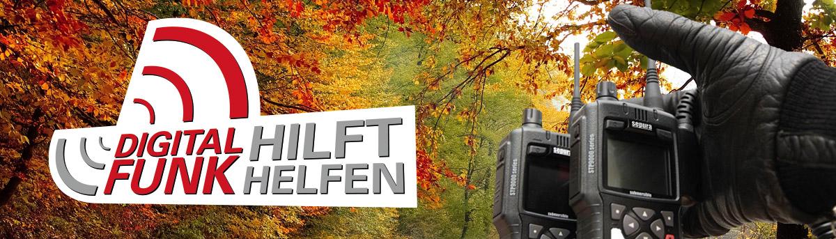 Herbstlandschaft mit Logo Digitalfunk Hilft Helfen und behandschuter Hand mit Walkie Talkie