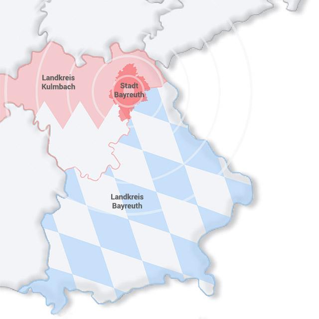 Vektorkarte von Franken mit Landkreis Kulmbach, Landkreis Bayreuth und Stadt Bayreuth